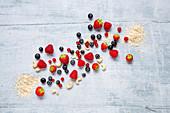 Muesli ingredients: berries, nuts and oats