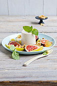 Coconut cotta with fruit salad