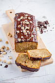 Carrot and nut cake with chocolate glaze