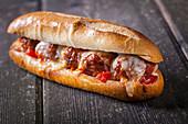 Meatball sandwich with cheese sandwich