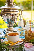 Samoar with hot tea