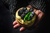 Person hands holding a homemade small cake with blackberry and delicious cream of vanilla and mint