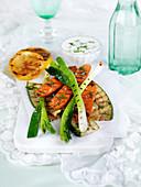 Grilled vegetables with yoghurt dip