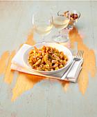 Fusilli in saffron sauce with shrimps