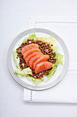 Lentil salad with smoked salmon