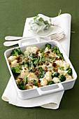 Cauliflower and broccoli gratin with gingerbread crumbs