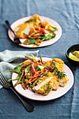 Almond crumbed chicken with sautéed veg