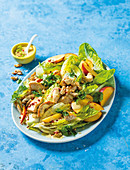 Curried peach and coronation chicken salad
