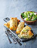 Chicken and broccoli phyllo rolls