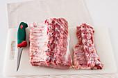 Raw rack of pork