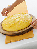 Polenta being sliced