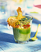 Courgette cream verrine with Parmesan chips