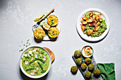 Green gazpacho, Pea and mackerel quiche, Squid and lemony pea mash, Pea and feta 'falafel'