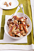 Chicken wings with bacon and mushrooms