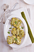 Courgette omelette pinwheels