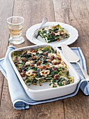 Lasagne verdi with spinach, cream cheese and salsiccia
