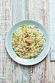 Risotto with puntarelle, herbs and chilli