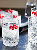 A vodka soda cocktail with frozen red currants