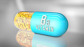 Vitamin B3 capsule, illustration