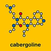 Cabergoline Parkinson's disease drug, molecular model