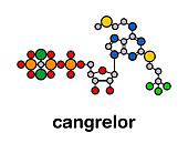Cangrelor antiplatelet drug, molecular model