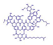 Dalbavancin glycopeptide antibiotic drug, molecular model