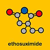 Ethosuximide anticonvulsant drug, molecular model