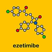 Ezetimibe cholesterol-lowering drug, molecular model