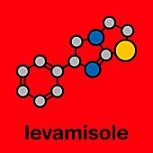 Levamisole anthelmintic drug, molecular model