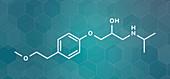 Metoprolol high blood pressure drug, molecular model
