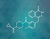 Olaparib cancer drug, molecular model