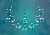 Ombitasvir hepatitis C virus drug, molecular model
