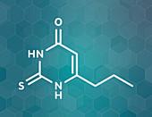 Propylthiouracil hyperthyroidism drug, molecular model