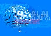 Human brain and AI, illustration