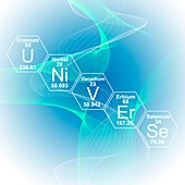Chemical elements universe, illustration