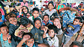 Children in a slum in India
