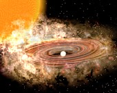Accretion disk in a binary star system, illustration