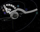 Voyager 1 taking Solar System family portrait, illustration