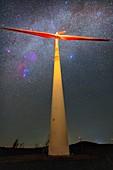 Wind turbine and Milky Way