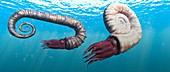 Ammonites swimming, illustration