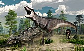 Ankylosaurus and Tyrannosaurus fighting, illustration
