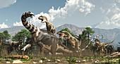 Allosaurus dinosaurs attacking a Brontosaurus, illustration