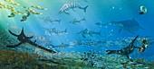 Jurassic marine ecosystem of the Dorset Coast, illustration
