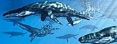 Liopleurodon prehistoric marine reptile, illustration