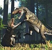 Metriacanthosaurus dinosaurs fighting, illustration