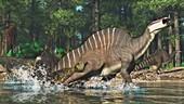 Sarcosuchus hunting Ouranosaurus, illustration
