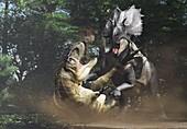 Teratophoneus and Utahceratops fighting, illustration