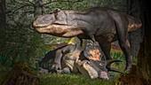 Tyrannosaurus with Triceratops prey, illustration