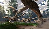 Velociraptors hunting, illustration