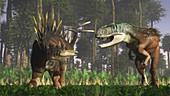 Yanchuanosaurus and Tuojiangosaurus dinosaurs, illustration